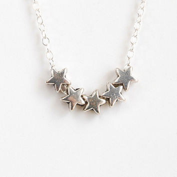Silver Five Star Necklace.