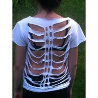 Emily - Ribcage Skeleton Cut-Out Shirt by WeWearShortShorts