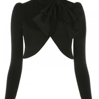 alice + olivia | Addison Bow Collar Crop Jacket