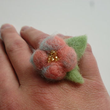 Whimsical Flower Ring Peach Needle Felted Ring Hand Dyed