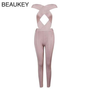 PEAPGC3 Front Cross Cut Out High Quality Rayon Nude Black High Waist  Sexy Women's 2016 New Arrival Bodycon Bandage Jumpsuits