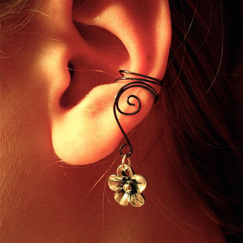 Pair of Hematite Ear Cuffs with Whimsical Five Petal Flower Charms