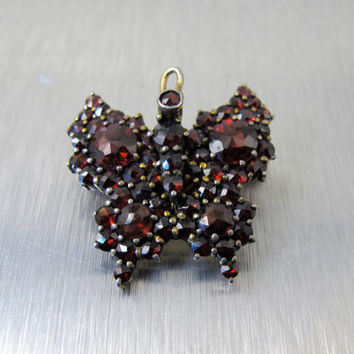 Bohemian Garnet Pendant, Victorian Butterfly Insect Garnet Brooch, Antique Rose Cut Bohemian Garnet Jewelry, January Birthstone