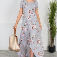 Lavender Petals Floral Maxi Dress