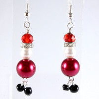 Santa Earrings, Pearl and Crystal