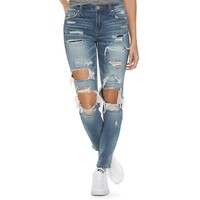 Juniors' Almost Famous Ripped Patched Skinny Jeans | null