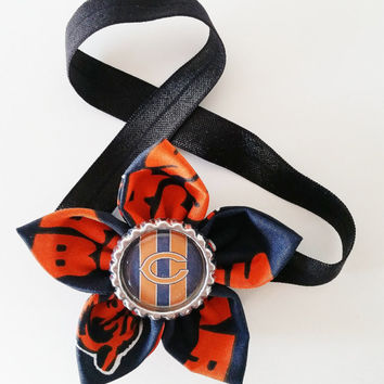Chicago Bears Headband, Football Hair Accessory, Bears Toddler and Newborn Headband, Bears Hair Flower, Bears Fan Gift