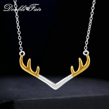 Double Fair Charm Antlers Wiredrawing 100% 925 Sterling Silver Chain Necklace Gold & Silver For Women Cocktail Party DFNY014