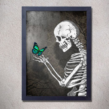 The skeleton butterfly ,art,digital print,poster,gothic,skull,artwork,black & white,butterfly,home decor,wall decor