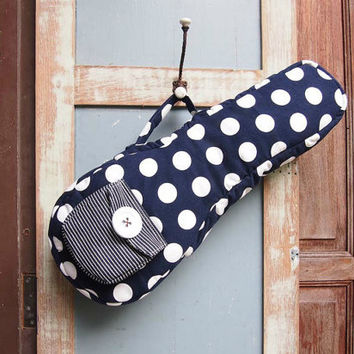 Dottie Dream - Navy Blue Polka dot Ukulele Bag (Soprano Size) Custom made