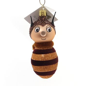 Golden Bell Collection Bumble Bee Glass Ornament