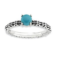 Sterling Silver Stackable Expressions Turquoise Ring