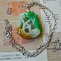 MEN JEWELRY Large tri color jade pendant on chain necklace