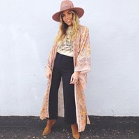 Floral Print Robe Femme  Long Cardigan Jacket Women Shirt Vintage Kimono Cardigans Loose Boho Casual Beach Top