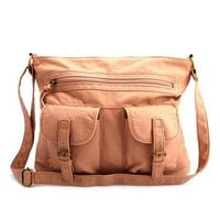 Washed Double Pocket Satchel: Charlotte Russe