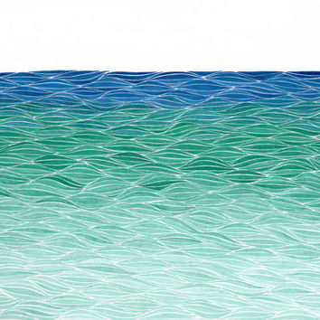 Seascape, Small Giclee Print of an Original Watercolor Painting, Turquoise and Blue