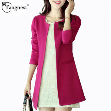 TANGNEST Women Spring Autumn Jacket 2017 New Fashion Solid Color Casual Lovely Young Ladies Blazer Feminino  WWX140