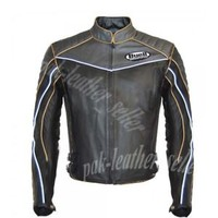 Men Buell Black Gray Motorcyle Leather Jacket 100% genuine cowhide