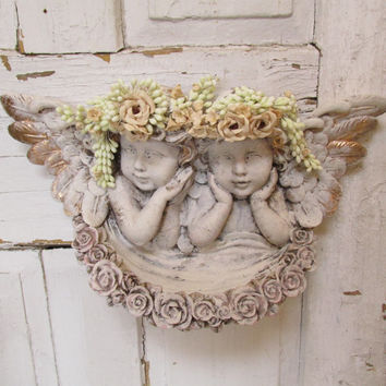 Cherub statue wall hanging shabby chic cherub heads and bowl embellished floral crowns home decor anita spero