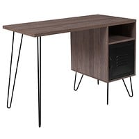 Woodridge Computer Desk Metal Cabinet Door and Black Metal Legs