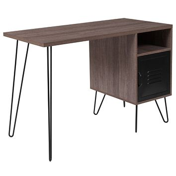 Woodridge Collection Computer Desk with Metal Cabinet Door and Black Metal Legs