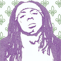 Lil Wayne Lyric Poster - 24x36 - Custom Handmade with Lyrics - Purple and Green - Artist - New Orleans - Rap Music - Tunechi - Young Mula