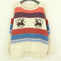 A 081902 Fawn stripe knit pullover loose