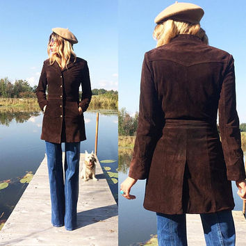 Vintage 60s 70s Brown SUEDE Snap Button Southwestern Fitted Jacket Coat || Size XS || Size 2