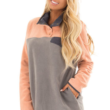 Grey Color Block Fleece Pullover Sweater with Side Pockets