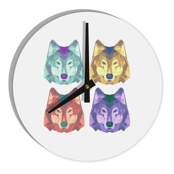 "Geometric Wolf Head Pop Art 8"" Round Wall Clock  by TooLoud"