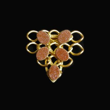 Goldstone Inverted Triangle Dress Clip, Cable Chain Design In Gold Tone, Sweater, Scarf, Fur Clip