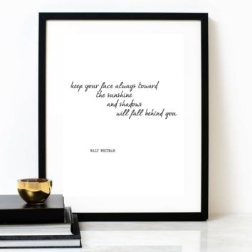 'Keep Your Face Towards The Sun' Typographic Print, WALT WHITMAN Poem
