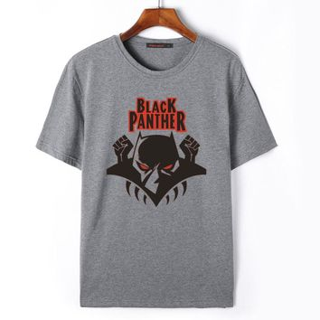 Flevans Marvel Black Panther Printed T-Shirt Summer Men's Fashion Short Sleeve T shirts Mens Clothing Casual Tee Tops