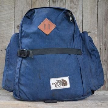 Vintage Brown Label THE NORTH FACE Navy Cordura & Leather Daypack Backpack