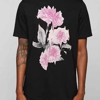 Poolhouse Warped Flowers Curved Hem Long Tee- Black