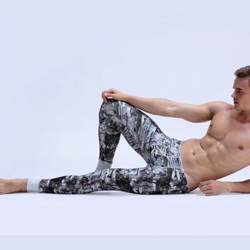 Male thermal long johns tight low-waist ultra elastic print terylene male underpants legging Chinese ink painting