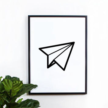 Paper Airplane poster, inspirational, wall decor, home decor, print art, gift idea, graphic art, geometric print, black and white poster