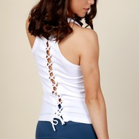 Lace Workout Lace Up Cami White