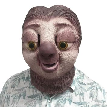 1pcs Funny Zootopia Flash Halloween Mask Animal Sloth Head Party Mask Festival Party Supplies Cosplay Costume Party Supplies