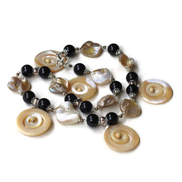 "19"" Black White Statement Necklace, Natural Semiprecious Onyx Mother Of Pearls, Formal Special Occasions Jewelry, Classic Handmade Unique"