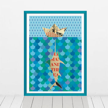 The old man and the sea - Literary poster - Book cover art - Wall art print