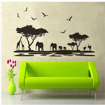 oujing Personality Design Black Fashion Africa Animals Wall Sticker background fashion Bar Glass sitting room Home Decor