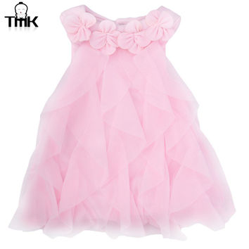 Sweet Flower Turn Down Collar Sleeveless Pure Color Infant Baby Girls Summer Dress 9 Month Toddler Girls Birthday Party Dress