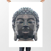 Buddha Print, Low Poly Digital Image, Printable Yoga Illustration, Instant Download, Buddha Statue, Yogi Gift, Namaste, Zen Art, Meditation