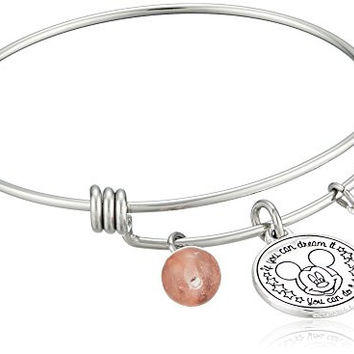 "Disney Stainless Steel Catch Bangle with Silver Plated Mickey Mouse ""If you Can Dream it You Can Do it"", and Rose Quartz Bead Charm Bangle Bracelet"