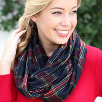 Kelly Infinity Scarf - Navy/Red