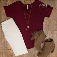 Nina Basic Top - Burgundy
