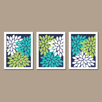 Turquoise Navy Blue Lime Green Custom Colors Flower Burst Dahlia Petals Artwork Set of 3 Trio Prints Decor Bedroom WALL ART Bathroom