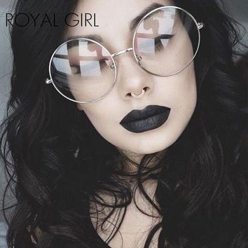 DCCKU7Q ROYAL GIRL 2017 Women Eyeglasses Frames Vintage Retro Oversize metal rim clear lens Round classic spectacles glasses SS340