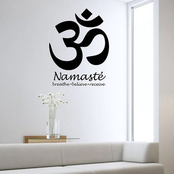 Om Wall Decal Sticker Art Decor Bedroom Design Mural Buddah namaste peace fitness love Large Om Symbol Vinyl home deocr
